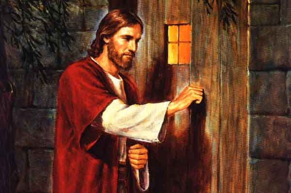 Jesus knocking on a door