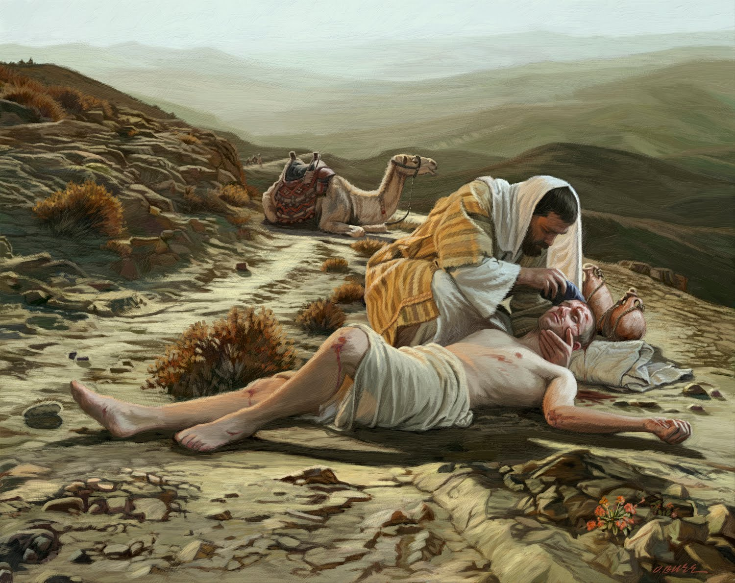 The Samaritan tending to the wounded man on the road to Jericho.