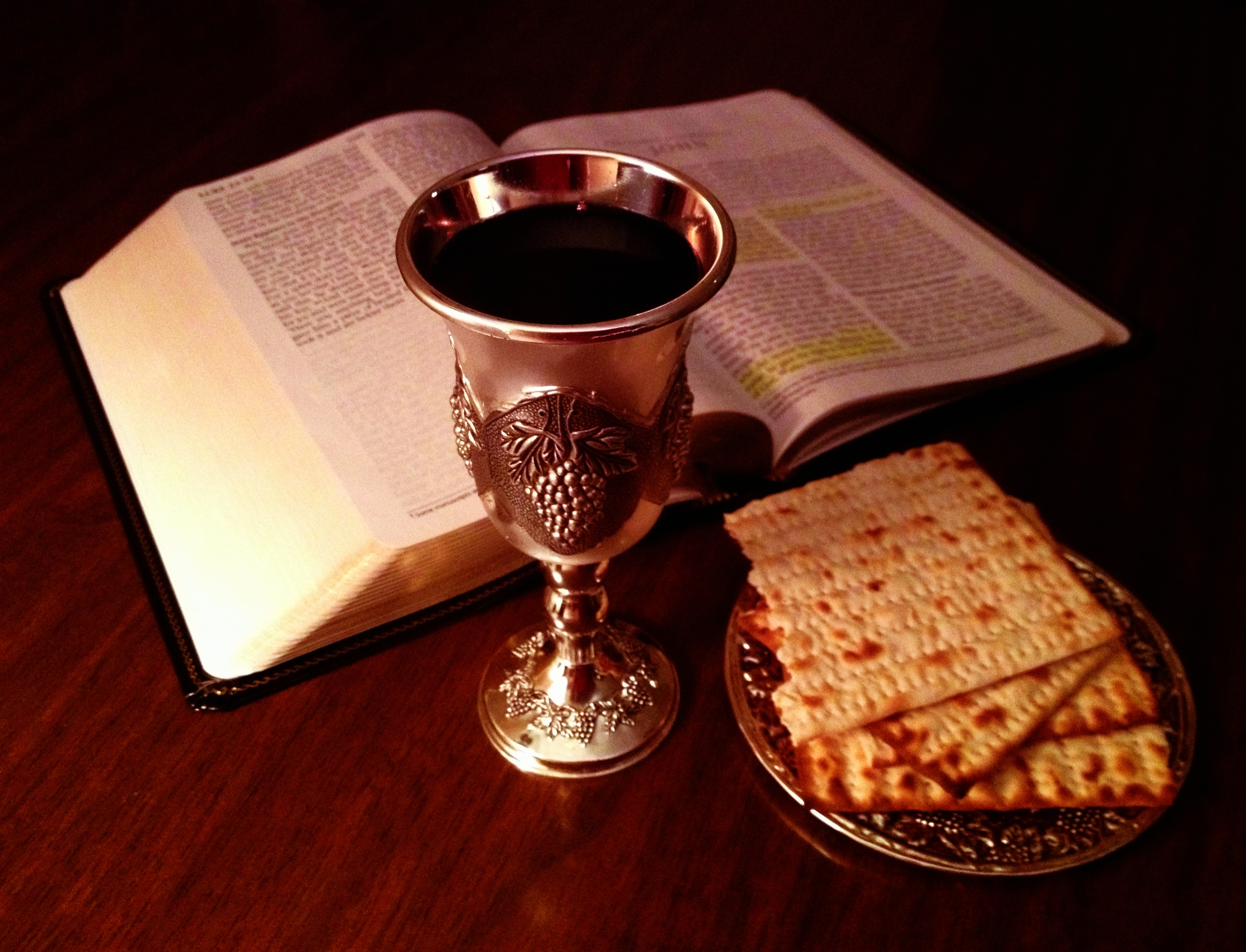 The Bible and the Lord's Cup and the bread.